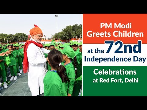 PM Modi greets children at the 72nd Independence Day Celebrations at Red Fort, Delhi