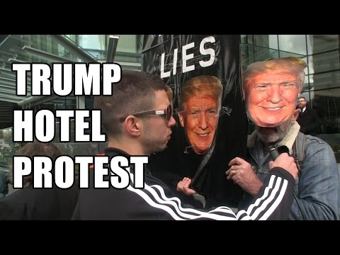 Squatting Slav TV vs.  Triggered Trump Hotel Protesters