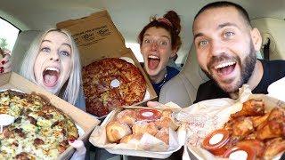 VLOG SQUAD GIRLS MUKBANG PIZZA AND WINGS!!