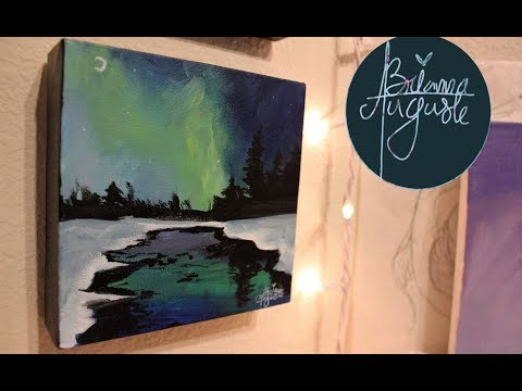 Blue And Green Winter Landscape – Acrylic Speedpaint