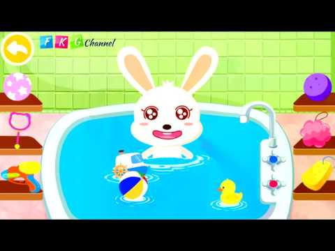 [FKG] Baby Panda's Bath Time play with baby Rabit & panda - Learn How to Bath a Baby - Babybus games