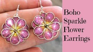 Creating UV Resin Sparkle Flower Earrings Jewelry DIY UV Resin Tutorial