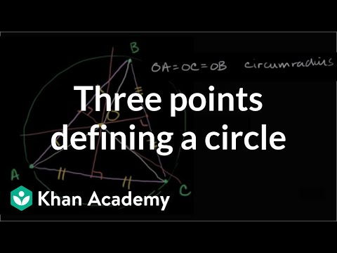 Three points defining a circle | Special properties and parts of triangles | Geometry | Khan Academy