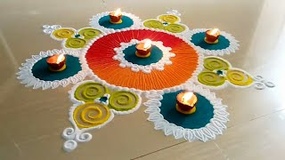 Beautiful rangoli design using fork, bangles & funnel | Easy, simple & innovative rangoli design |