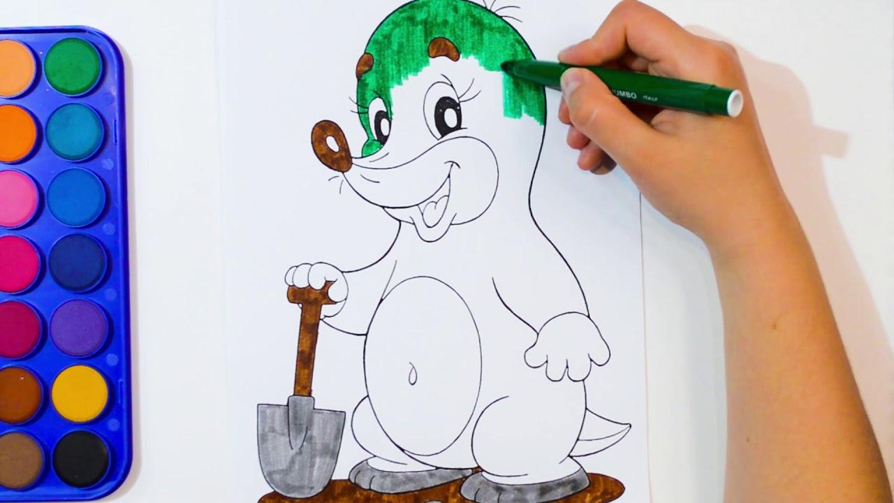 раскраска крот учим цвета раскраски для детей