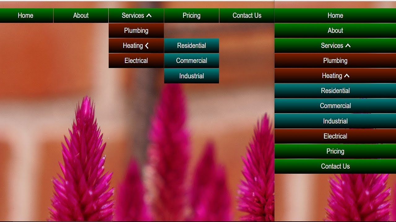 Responsive Multi Level Two Level Drop Down Menu Navigation only html and css