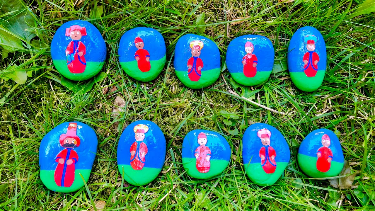 The PONTIPINES Painted Rocks Counting Game IN THE NIGHT GARDEN