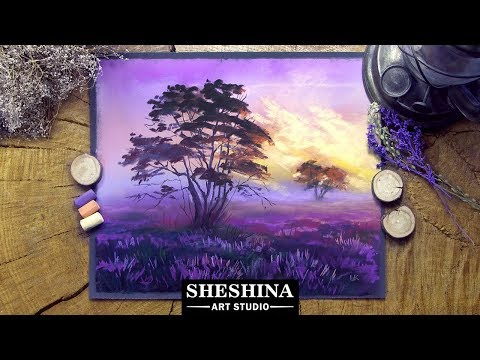 how-to-draw-a-sunrise-on-a-lavender-field-with-soft-pastels-🎨-landscapes