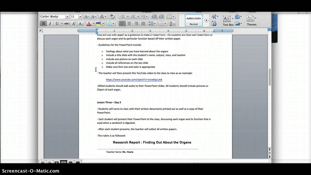 Michelles Lesson Plan The Digestive System YouTube - Gifted lesson plan template