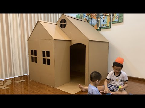 Easy cardboard box playhouse