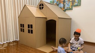 DIY | How To Make a Big Cardboard House - CardBoard Playhouse for Kids