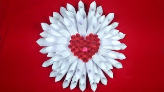 How To Make Paper Flower | Heart Shape Paper Craft | Giant Paper Flower Tutorial