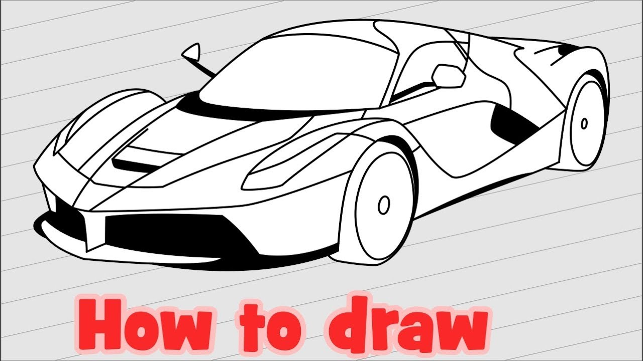 How to draw a car Ferrari Laferrari step by step