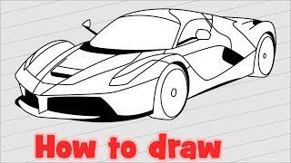 How to draw a car Ferrari Laferrari step by step
