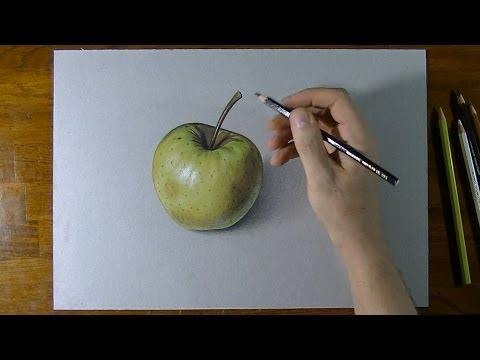 Disegni Da Colorare Natura Morta Frutta.Disegno In Time Lapse Effetto 3d Mela Gialla Natura Morta Youtube