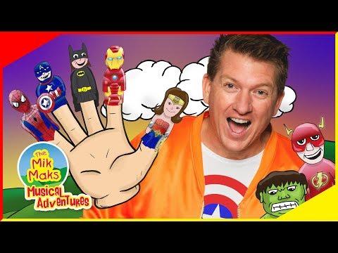 Finger Family Superheros   Kids Songs And Nursery Rhymes   The Mik Maks
