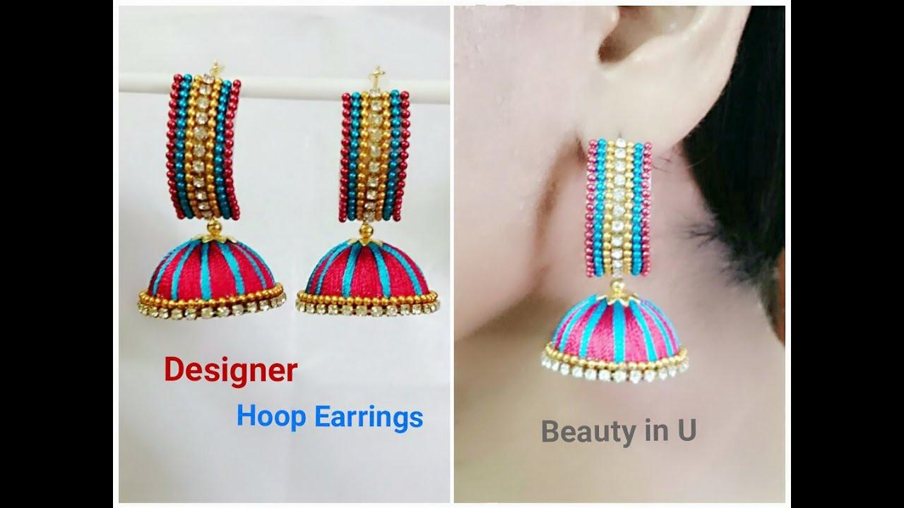 6f7105d8e Designer Hoop Style Silk Thread Earrings Tutorial by BeautyinU by Divya