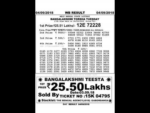 West Bengal Lottery Banga Lakshmi Torsha Result 04-09-2018 - YouTube
