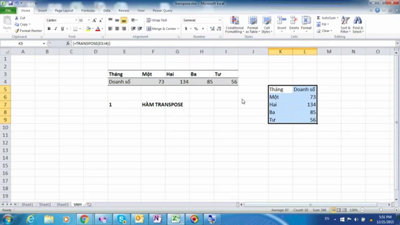 Microsoft Excel 001: Hướng dẫn cách xoay bảng từ dọc sang ngang, từ ngang sang dọc với hàm TRANSPOSE