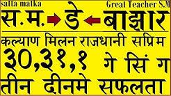 Satta Matka Kalyan,Milan,Raj,Sup.Day Bazaar 3 days Guide By Great Teacher S.M