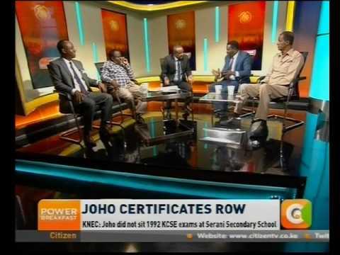 Power Breakfast News Review : Joho Certificates Row