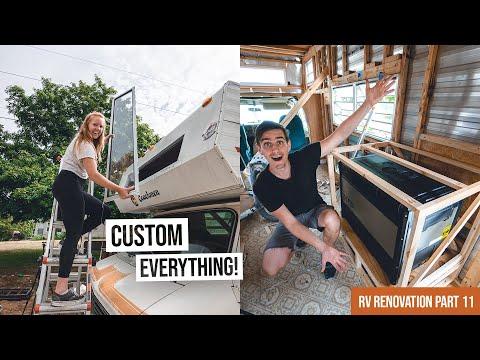 Installing Our CUSTOM BUILT Window & Starting Fridge Cabinet! + LIFE UPDATE | RV Renovation Part 11