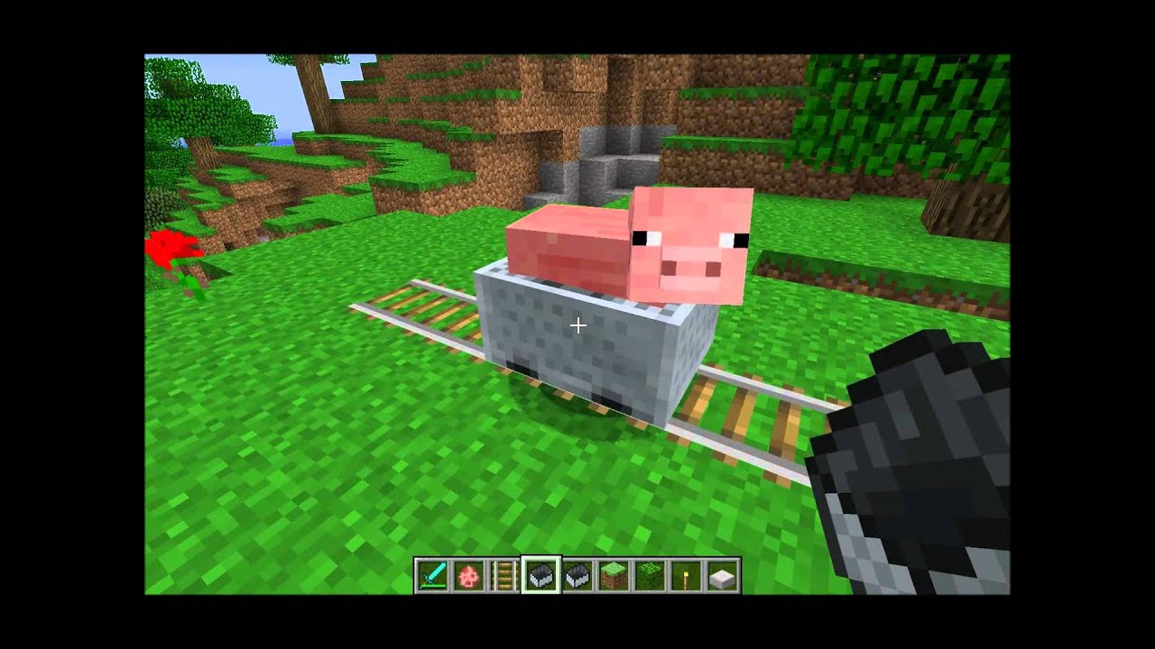 Tuto 2012 minecraft mettre un cochon ou animal dans un minecart hd youtube - Minecraft cochon ...