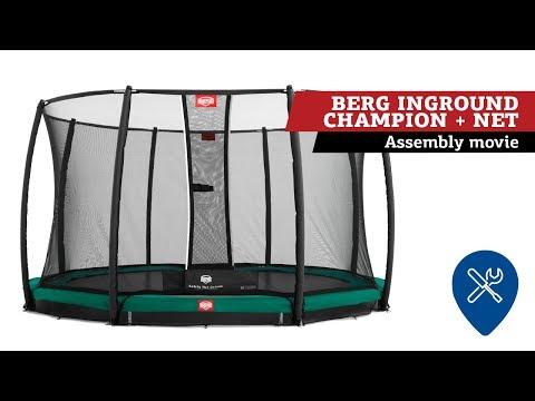 BERG InGround Champion Trampoline + Safety Net Deluxe   Assembly Movie