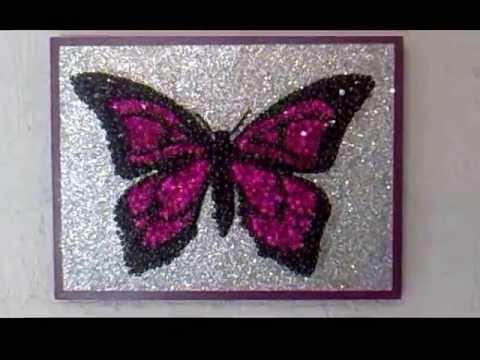 Cuadro Anylu: Mariposa fiusha en fondo plata - YouTube