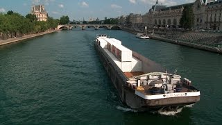 Free Stock Video Download | Boat Passing the River Seine | Free HD Download