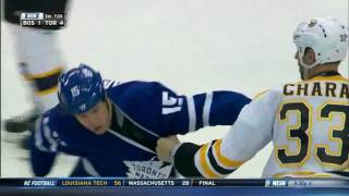 Zdeno Chara fights Matt Martin after a hit on Torey Krug, on Octobe...