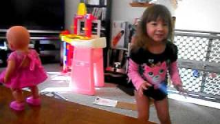Molly dancing with Baby Born Dance with Me Baby Doll