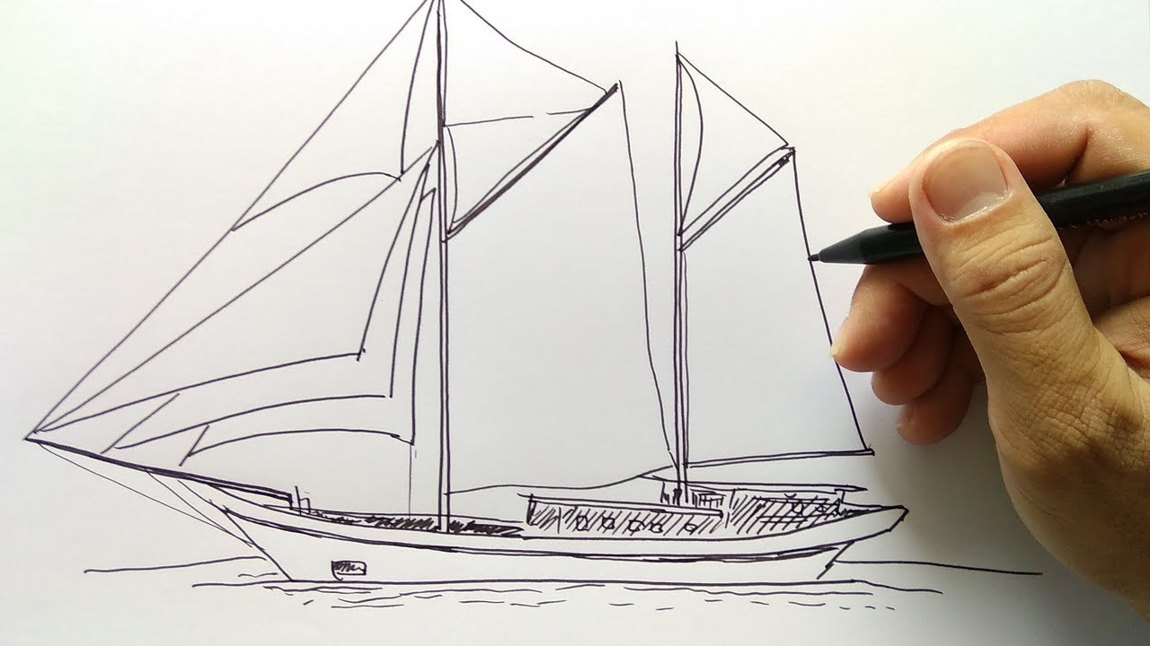 Cara Menggambar Kapal Layar