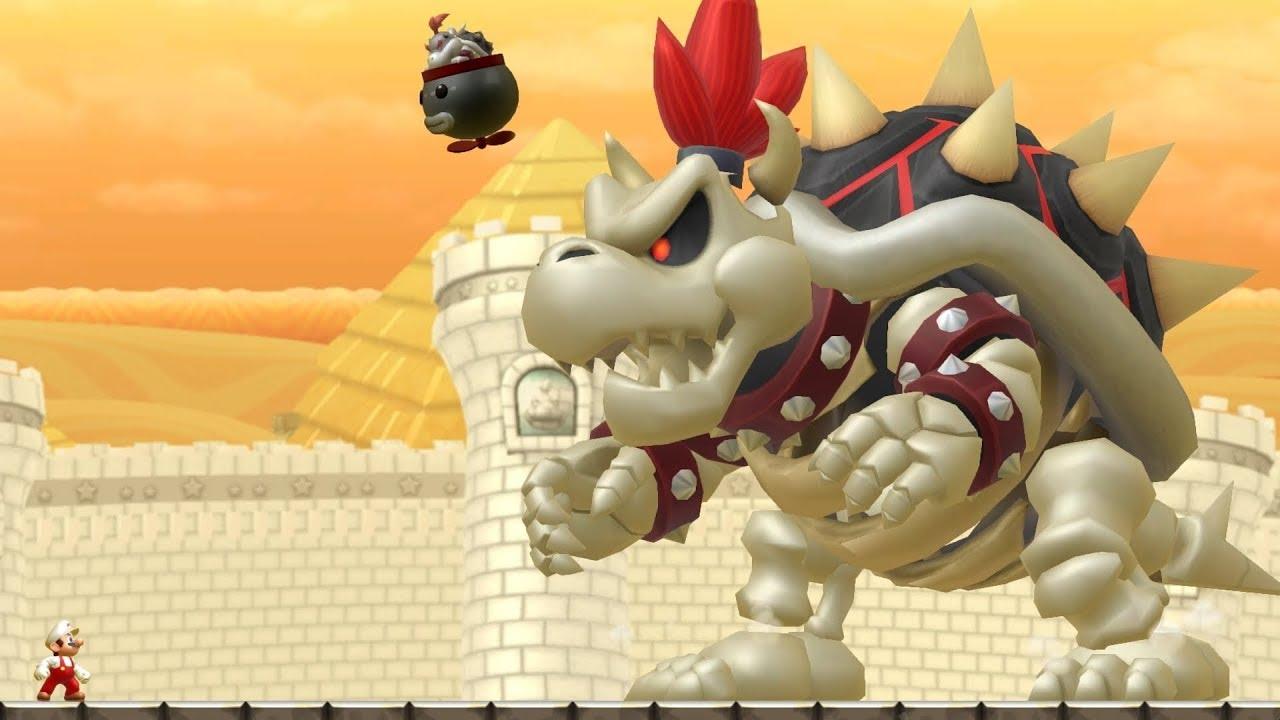 New Super Mario Bros U Dry Bowser Boss Battle Youtube