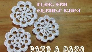 Bolero en crochet irlandés: flor con clones knot paso a paso