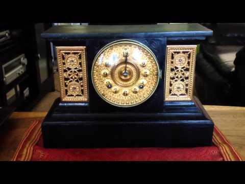 1890ish Ansonia cast iron mantel clock chimes
