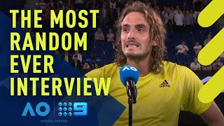 Greece's stefanos tsitsipas speaks to jim courier following his round 1 demolition of gilles simon read: http://9soci.al/3g7850waa2v | subscribe: http://9soc...