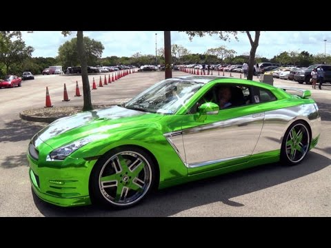 Nissan GTR Green Silver Chrome Awesome Wheels And Color