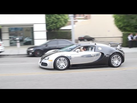 chrome and carbon fiber bugatti veyron in beverly hills. Black Bedroom Furniture Sets. Home Design Ideas