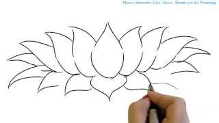 How To Draw A Beautiful And Simple Lotus In Easy Way Yzarts Yzarts Youtube