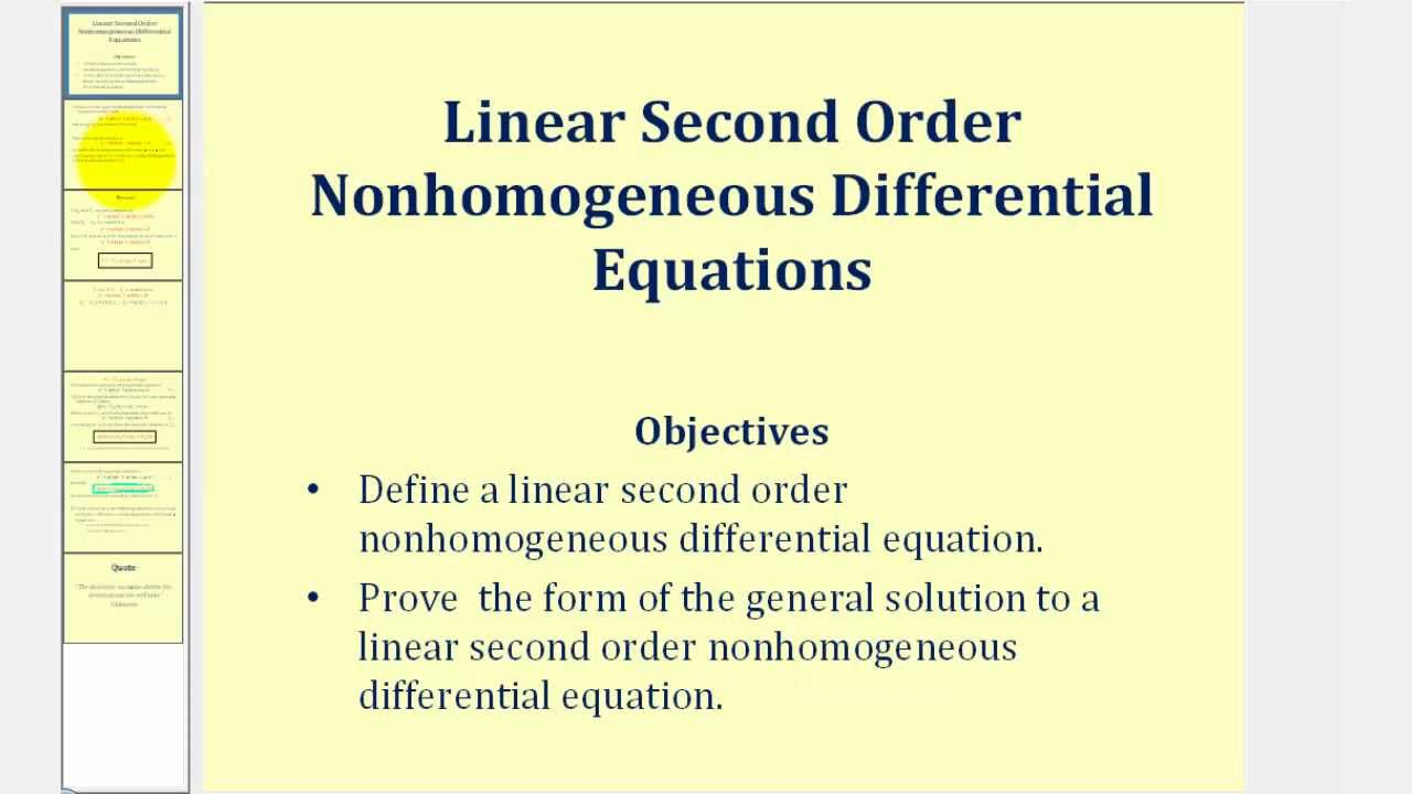 Prove the Form of the General Solution to a Linear Second Order ...