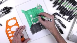 Видео урок по созданию скетча мраморной ванной комнаты. Рисуем скетч ванной комнаты маркерами