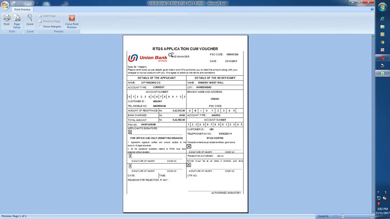Download United Bank Of India Bank RTGS / NEFT Challan Form