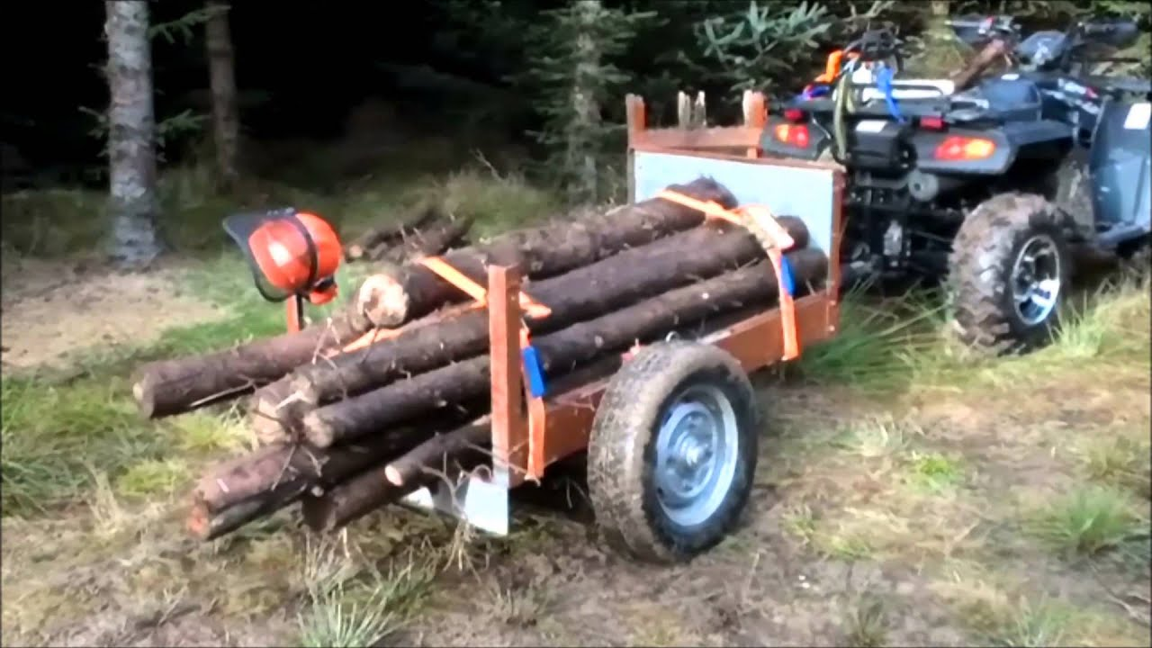 Home Made Atv Log Trailer Skidder Hd Youtube