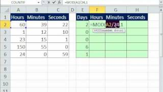 Excel Magic Trick 600: Convert Hours to Days & Hours using MOD & INT functions