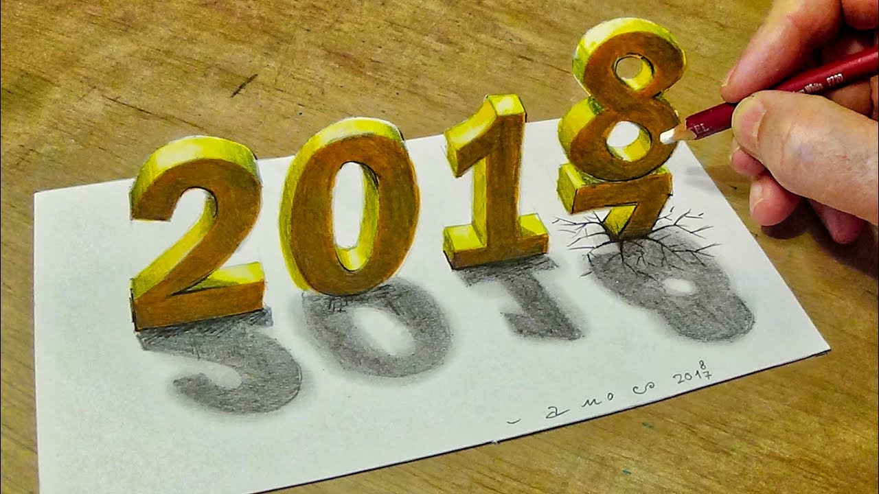 happy new year 2018 how to draw number 2018 trick art with vamos
