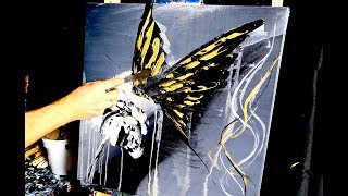 GOLD BUTTERFLY ABSTRACT PAINTING BY DRANITSIN