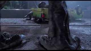 Jurassic Park (1993) Scene: Over the Ledge/T-Rex Attack.