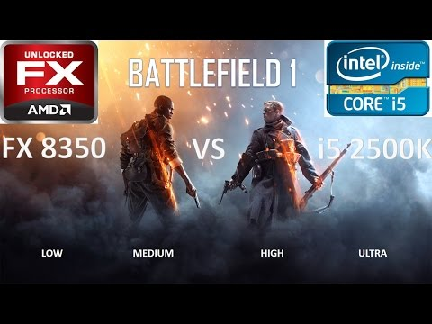 INTEL i5 2500k VS AMD FX8350   HD7950   BATTLEFIELD 1