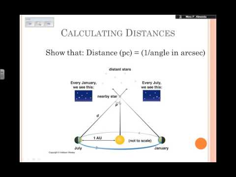 Parallax and Using Parallax to measure distances to nearby stars - plus exercises - Astrophysics
